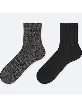 Women Heattech Crew Pique Socks (2 Pairs) by Uniqlo