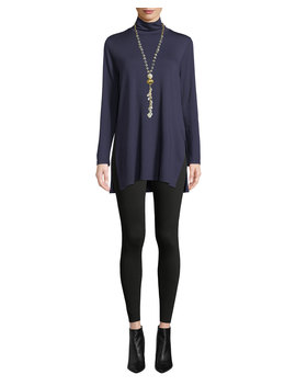 Mock Neck Terry Long Tunic Sweater by Eileen Fisher