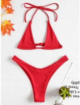 Halter Micro Bikini Set   Love Red S by Zaful
