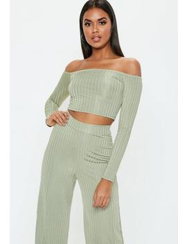 Green Shiny Ribbed Bardot Crop Top by Missguided