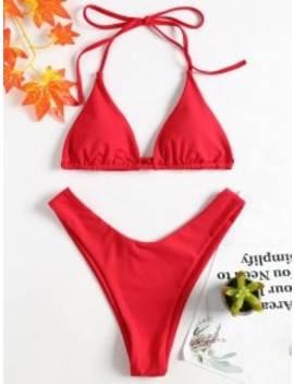 High Leg Halter Bikini Set   Love Red L by Zaful