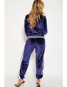 Cute Navy Two Piece Outfit Jacket Pants White Stripe Embroidery Faux Suede Semi Fitted by Ami Clubwear