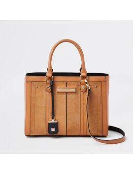 Beige Faux Leather Boxy Tote Bag by River Island