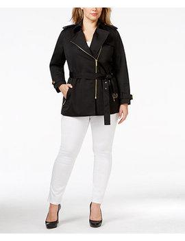 Plus Size Asymmetrical Zip Front Trench Coat by Michael Michael Kors