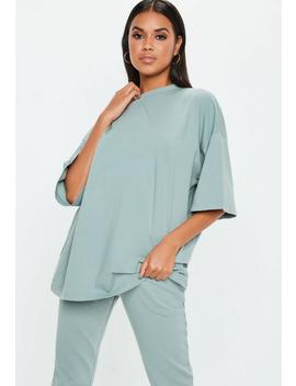 Green Drop Shoulder Oversized T Shirt by Missguided
