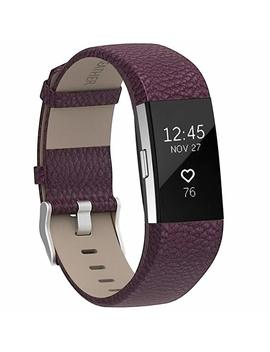 Henoda Replacement Bands Compatible With Fitbit Charge 2, Classic Genuine Leather Charge 2 Band Fitness Wristband For Women Men Small Large by Henoda