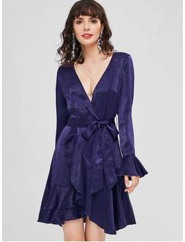 Plunge Flare Sleeve Belted Dress   Midnight Blue Xl by Zaful