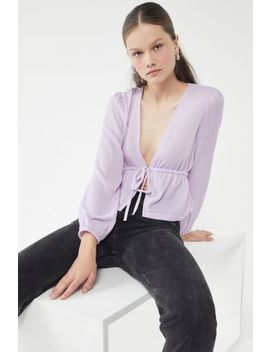 Uo Drew Velvet Tie Waist Blouse by Urban Outfitters