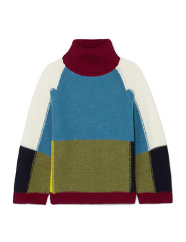 Color Block Wool Turtleneck Sweater by See By Chloé