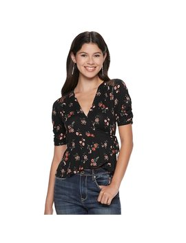 Juniors' American Rag Floral Wrap Top by Kohl's