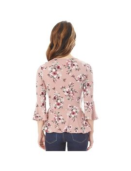 Juniors' Iz Byer Floral Faux Wrap Top by Kohl's