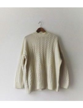 Topshop Long White Cable Knit Jumper Size 16 Good Condition by Ebay Seller