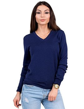 Knittons Women's Wool Classic Slim Fit V Neck Sweater Pullover by Knittons
