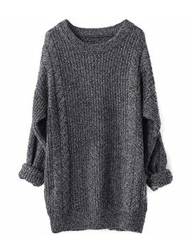 Liny Xin Women's Cashmere Oversized Loose Knitted Crew Neck Long Sleeve Winter Warm Wool Pullover Long Sweater Dresses Tops by Liny Xin