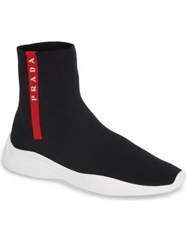 Logo Band Sock Sneaker by Prada