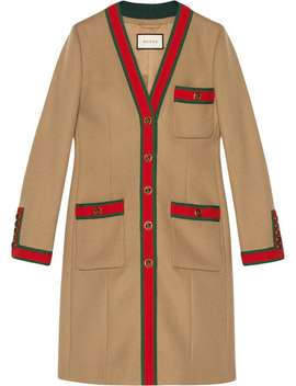 Gucci Wool Coat With Webhome Women Gucci Clothing Single Breasted Coats by Gucci