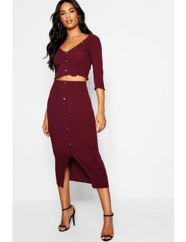 Tall Button Front Rib Co Ord Set by Boohoo
