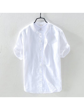 Men Solid Color Stand Colar Short Sleeve Cotton Shirt by Newchic