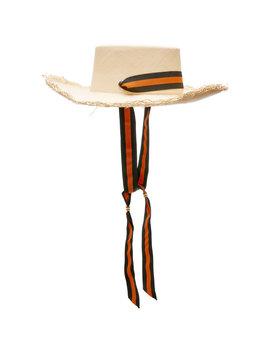 M'o Exclusive Wide Frayed Brim Straw Hat by Sensi Studio