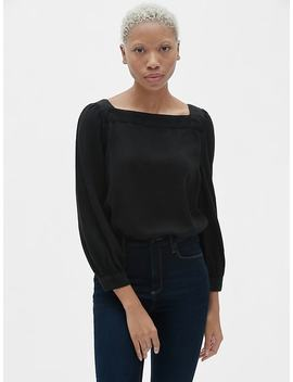 Blouson Sleeve Square Neck Top In Tencel™ by Gap