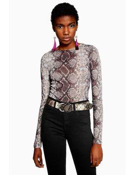 Snake Print Bodysuit by Topshop