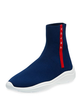 High Top Sock Knit Trainer Sneakers by Prada