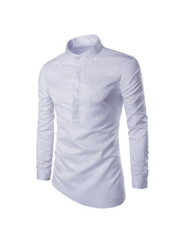 Slim Stand Collar Shirt Cuff Solid Color Long Sleeve T Shirts For Men by Newchic
