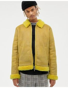 Asos Design Faux Shearling Flight Jacket In Bright Yellow by Asos Design