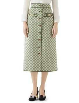 Leather Trim Gg Canvas Skirt by Gucci