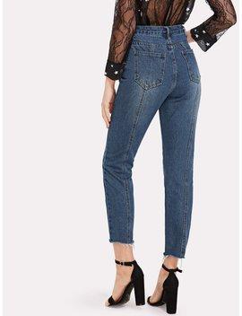 Raw Hem Ankle Jeans by Romwe