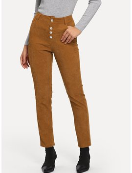 Button Front Corduroy Pants by Romwe
