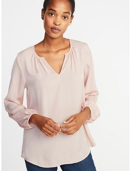 Split Neck Matte Satin Blouse For Women by Old Navy