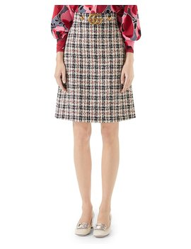 A Line Tweed Knee Length Skirt With Gg Hardware by Gucci