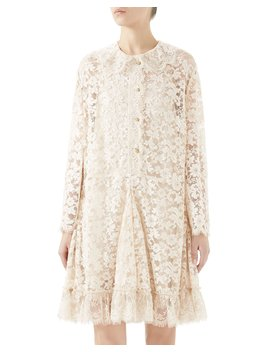 Long Sleeve Lace Button Front Godet Dress by Gucci