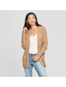 Women's Long Sleeve Pointelle Open Cardigan   Knox Rose™ Tan by Knox Rose™