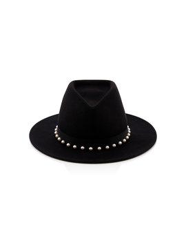 Blaine Peal Embellished Black Wool Felt Fedora by Eugenia Kim