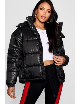 Hooded Cire Puffer Jacket by Boohoo
