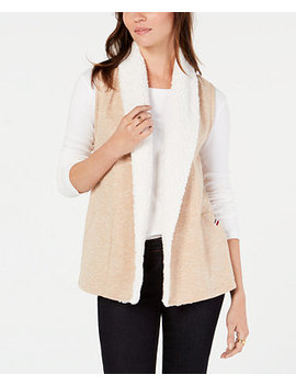 Faux Shearling Open Front Vest, Created For Macy's by Tommy Hilfiger