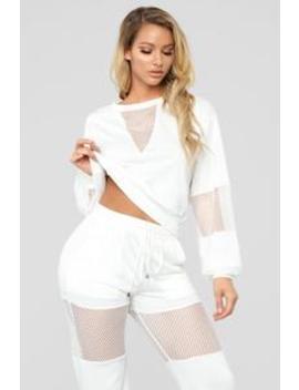 Fish Out Of Water Pant Set   White by Fashion Nova