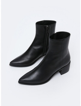 Pointed Line Ankle Boots Black by Menodemosso
