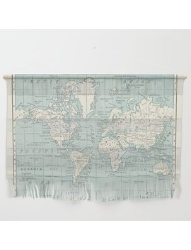 World Map In Blue And Cream Wall Hanging by