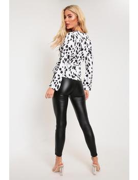 white-_-black-dalmatian-print-deep-plunge-long-sleeve-shirt by i-saw-it-first