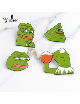 Yiustar Weird Funny Annimal Brooches Cute Frog Pepe Expression Cartoon Pins Enamel Jewelry Clothing Bag Accessories Party by Yiustar