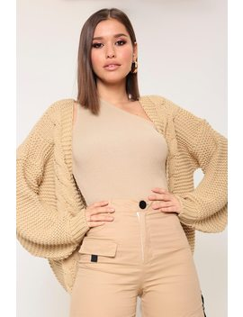 Camel Chunky Cable Knit Cardigan by I Saw It First