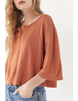 Truly Madly Deeply Short Sleeve Henley Cropped Top by Truly Madly Deeply