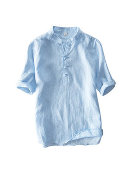 Mens Chinese Style 100% Cotton Solid Color Stand Collar Vintage Casual Summer T Shirts by Newchic