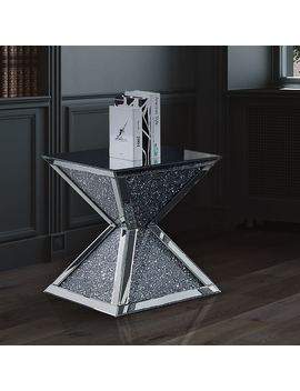 Furniture Of America Anneka Mirrored End Table by Furniture Of America
