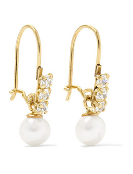 Lucille 14 Karat Gold, Cubic Zirconia And Pearl Earrings by Loren Stewart