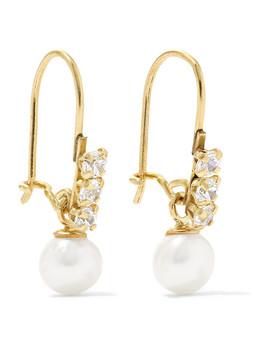 Lucille 14 Karat Gold, Cubic Zirconia And Pearl Earrings by Loren Stewart