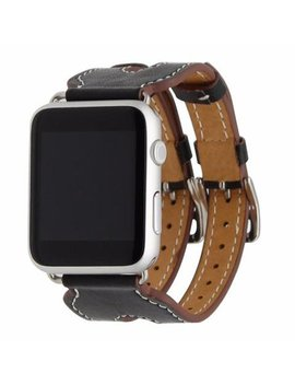 Liza Tech Leather Double Buckle Cuff Replacement Band For Apple Watch   38mm   Black by Liza Tech